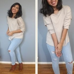 Tops - 2FOR $20| OATMEAL CASCADING 3/4 SLEEVE TOP